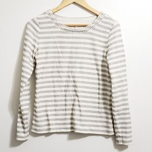 Maison Jules Crew Neck Striped Rhinestone S